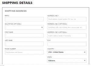 Enter Shipping details