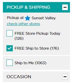 Pickup & Kohls free shipping