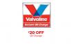 Valvoline Coupon $20