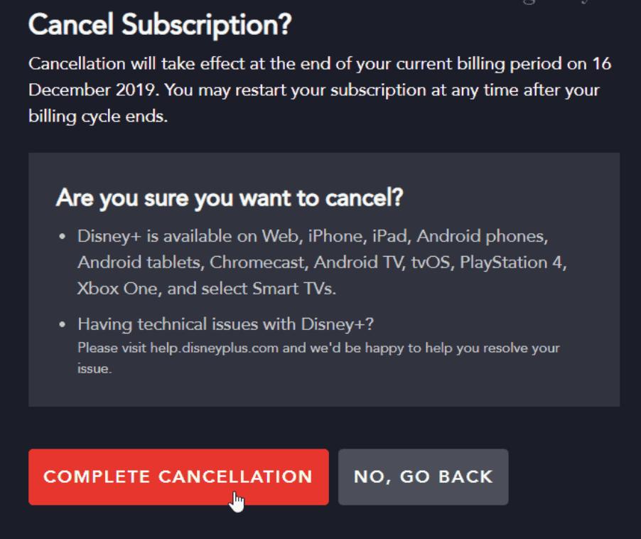 Cancel disney plus subscription